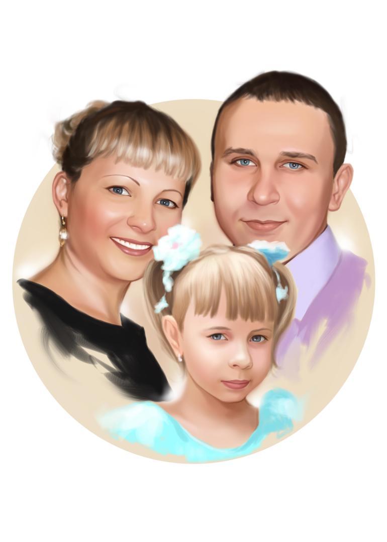 Семейный портрет по фото на холсте в Казани — правильный подарок!