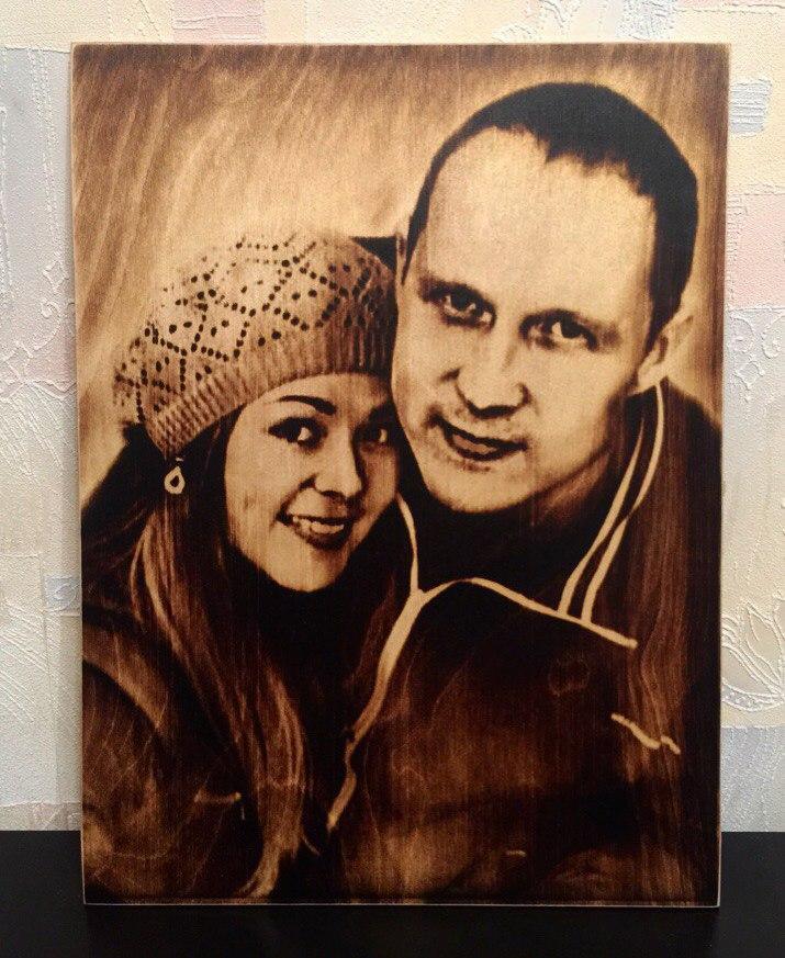 выжигание портретов по дереву на заказ в Казани