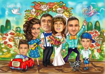 Шарж по фото на годовщину свадьбы на заказ в Казани…